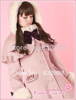 Lolita Custom Made Pas Long Cher Japon En Manteaux Rose Laine Chaude Vente Marque À Hiver Manteau Sweet Tranchée D'hiver Capuche Filles xwqIXC17p