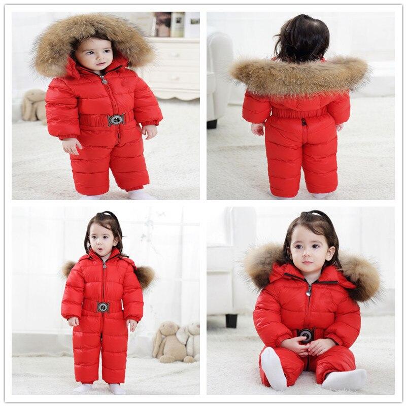 Hiver enfants 90% blanc canard vers le bas barboteuses garçons grande fourrure naturelle avec des vêtements à capuche filles épaissir combinaison 2-6y enfants combinaison de neige - 3