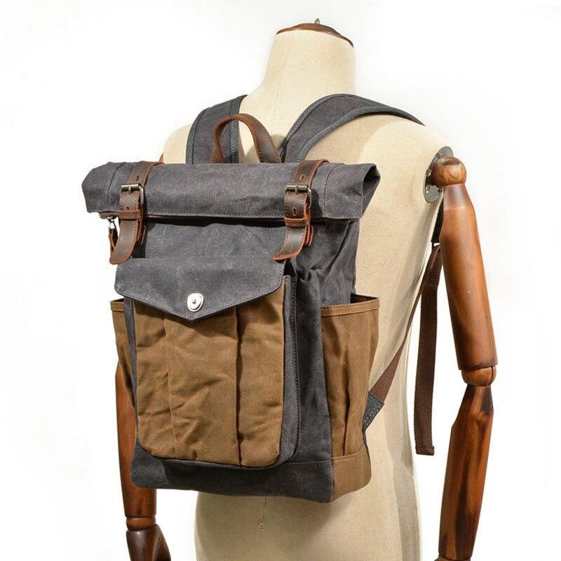 AETOO European and American retro canvas bag men and women backpack batik canvas travel computer bag  oil wax canvas bag