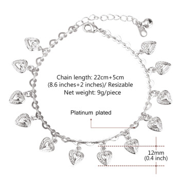 U7 Heart Charms Ankle Bracelet On Leg Gold Color Summer Jewelry Wholesale Anklet Bracelet Foot Jewelry For Women Gift A318 3