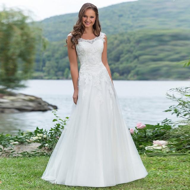 0cc25f52a Robe De Mariage 2017 Nueva Moda Cuello de La Cucharada de Novia Sencillos  vestido de novia