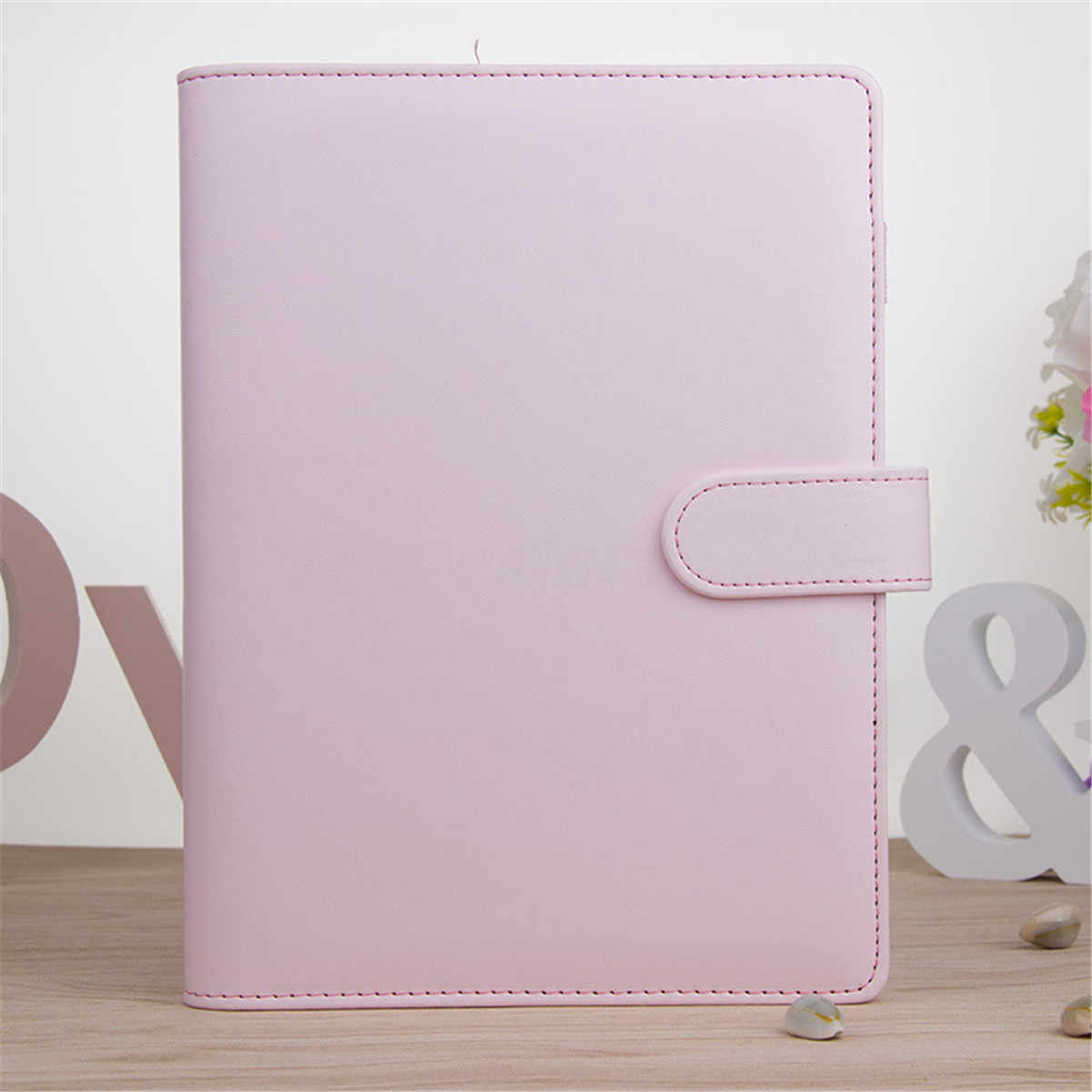 A5 Mingguan Bulanan Planner Diary Klasik Loose-Leaf Ring Binder Notebook Cover Pink