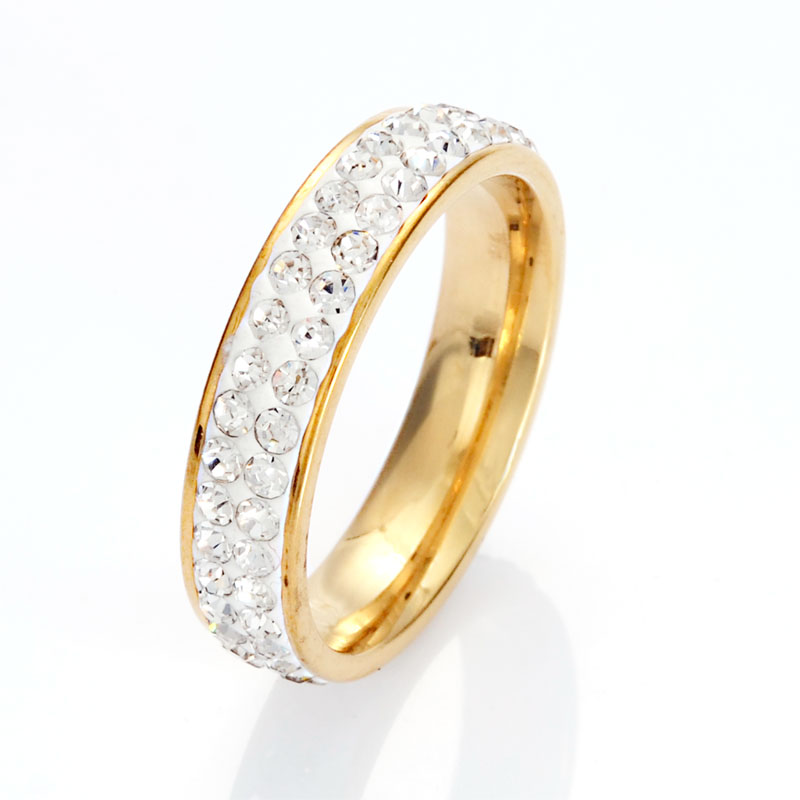 Full Size Twp Row Clear Crystal Plated Stainless Steel Wedding Rings Fashion Jewelry Made with Genuine CZ Crystals B1423