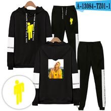 Billie Eilish Спортивный костюм с капюшоном и брюки мода балахон негабаритных хип-хоп одежда мужчины
