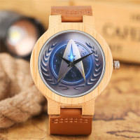 Men S Creative Star Trek Bamboo Wooden Watches Leather Band Quartz Cool Nature Wood Wristwatch Student