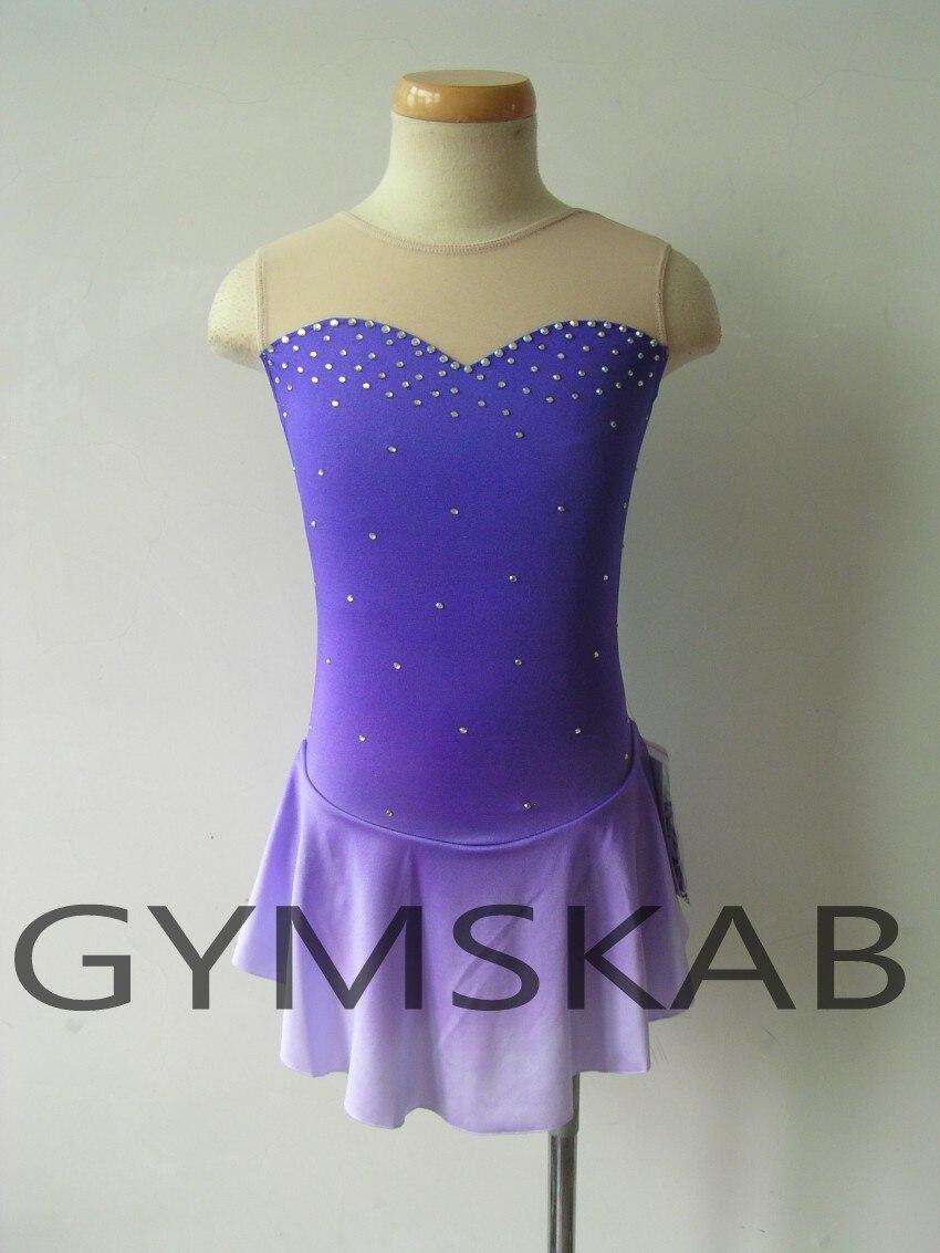 2018 Gradient Color Figure Skating Dress Women's Girl's Customized Ice Skating Dress Sleeveless Gymnastics Costume 6497
