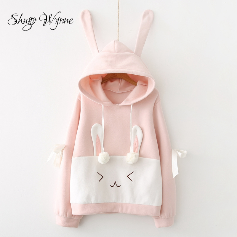 Shugo Wynne Hoodies 2017 Autumn Winter New Women Kawaii Rabbit Ears Lace up Hooded Long Sleeve