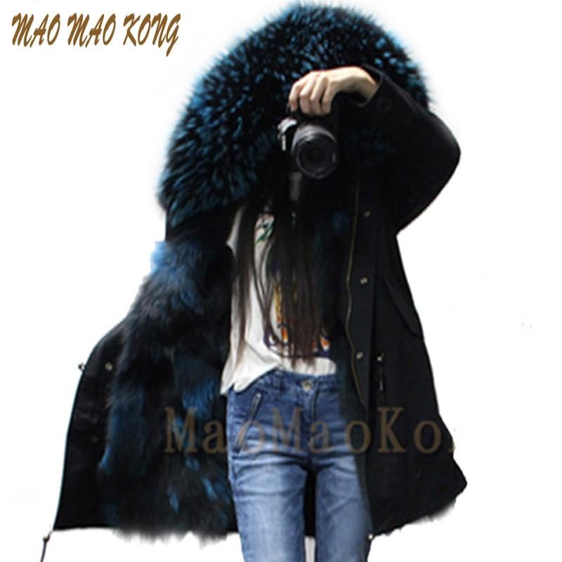 все цены на 2017 newest black hood 100%  real fox fur lining with big raccoon fur collar  for women brand military winter parka онлайн