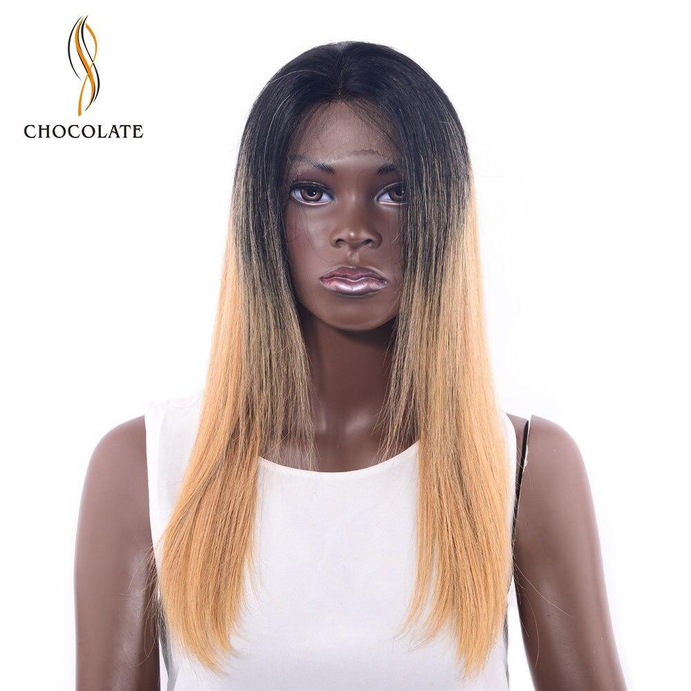 Шоколад лето предварительно сорвал Ombre блондинка парик 180% Плотность Малайзии Прямые человеческих волос Синтетические волосы на кружеве па...