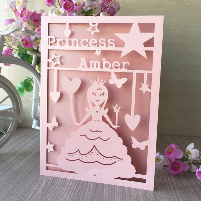 100pcs Laser Cut Birth Invitation Card For Pink Paper Girls 15th 16th Princess Birthday Greeting Blessing