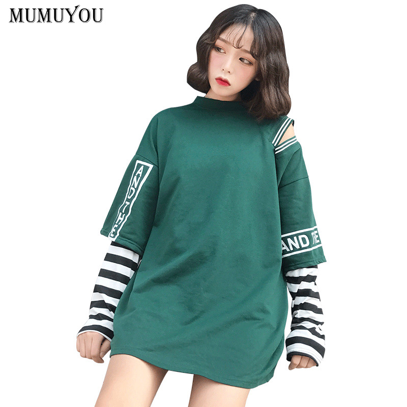 78ee80cd2a T-shirt Femme 2018 Spring Clothing Women Korean Ulzzang Harajuku Striped  Sleeve Patchwork False Two Piece Long Sleeved T-shirts