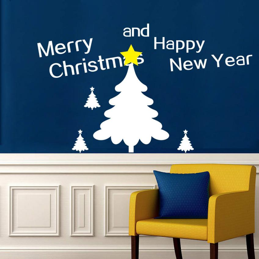New Year Merry Christmas Tree Wall Stickers Vinyl Home Wall Decor Decals Wall Sticker Christmas Decorations for Home