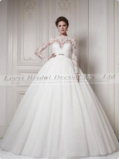 vestido de vestido de novia playa manga longa manga larga tul