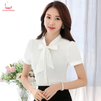 New professional bow tie chiffon shirt short sleeve summer han fan waist work clothes with white shirt overalls
