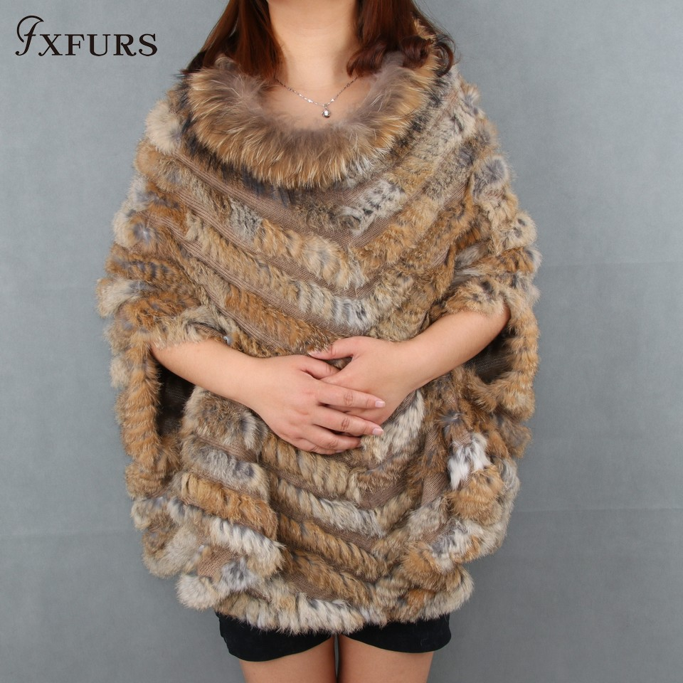 2017 New Women Fashion Pullover Knitted Genuine Rabbit Fur Raccoon Fur Poncho Cape Real Fur Knit Amic Wraps Batwing Sweater rabbit print pullover