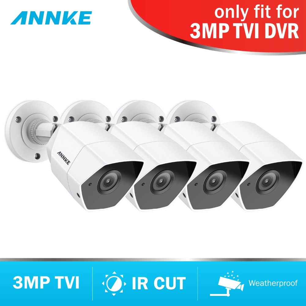 цена ANNKE HD 3MP TVI 4pcs Camera Set CCTV Surveillance Video Camera System Kit Night Vision IR Cut for TVI DVR Waterproof LED 3.6mm