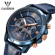 CADISEN Men Watches Chronograph Quartz Watch Mens Blue Leather Wrist watch relogios masculino