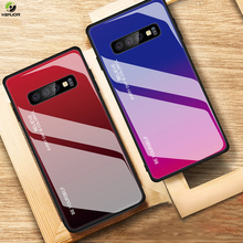Keajor Tempered Glass Case For Samsung Galaxy S10 Luxury Gradient Cover Silicon Hard Bumper Plus S10E Funda