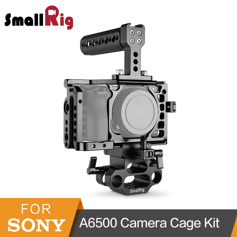 SmallRig for Sony A6500 Camera Cage with Top Handle+ HMDI Cable Clamp+DSLR 15mm Base Support Accessory Kit - 1986