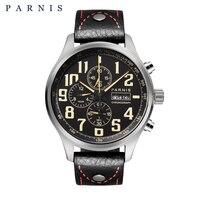 43 мм Parnis кварцевые часы аналоговый хронограф Datejust военный Пилот часы Дайвинг часы 100 м водонепроницаемый