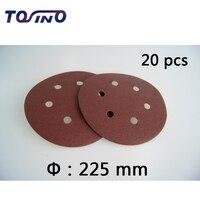 20 stücke 9 zoll (225mm) 6 Löcher Sand papier Abrasive Schleifpapier Elektrowerkzeugen Zubehör Grütze 60 zu 2000