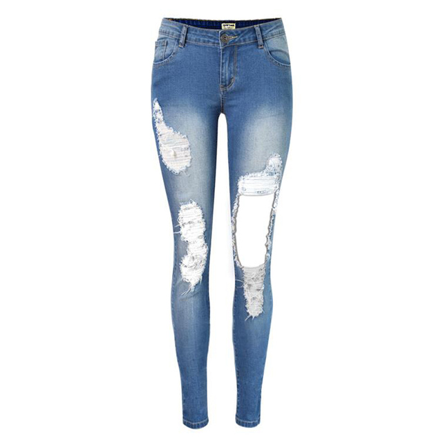 aea24eb8a22a Witsources Holes Jeans Women High Waist Skinny Pencil Indigo Vintage Ripped  Jean SP2086