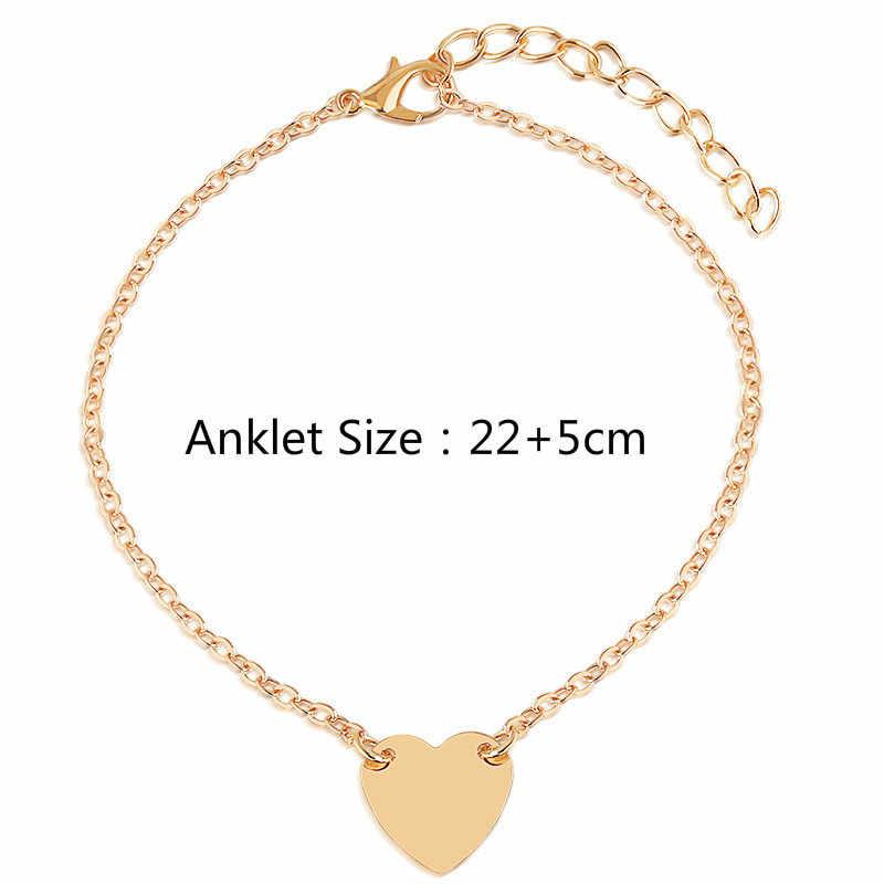 Nowe serce kobiece obrączki boso szydełkowe sandały biżuteria na stopy nogi nowe obrączki na stopy bransoletki na kostki dla kobiet łańcuch nogi