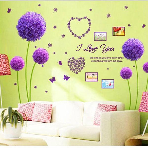 New Romantic Dandelion Heart Wall Decals I love you Wedding Room ...
