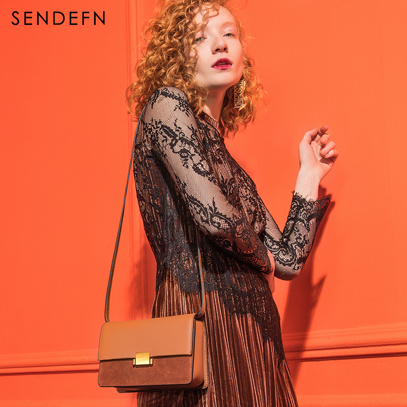 Sendefn 2018 New Lady Split Leather Bag Women Small Handbag Women Crossbody Flap Bags Shoulder Bag Female Cover Luxury Brand Bag new arrival fashion design women bag split leather crossbody bag luxury brand lady messenger bag cover lock shoulder bag