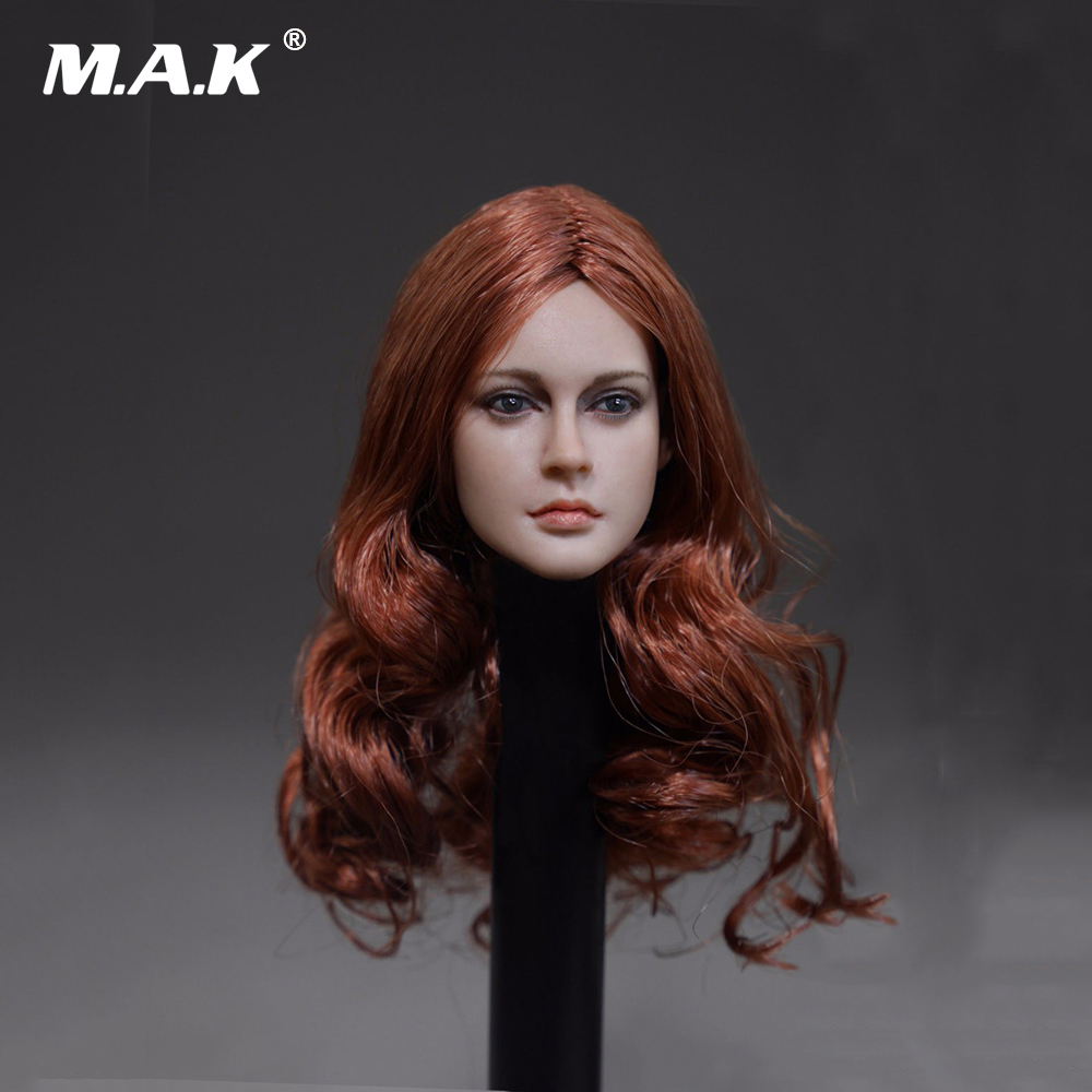 1/6 Scale European Red Long Hair Female Head Sculpts For 12 Female Action Figures Bodies Dolls Toys Gifts Collections 12 inches mens muscle rubber body black skin figures bodies for 1 6 scale male head sculpts brinquedos toys collections