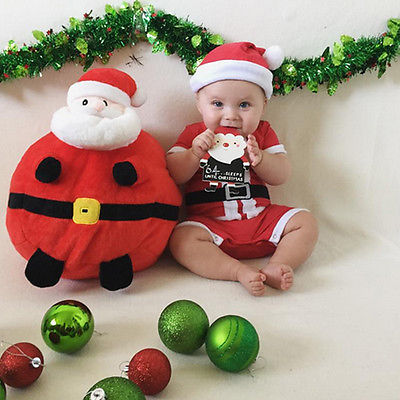 2 Pcs  Babies Boys Girl Christmas Jumpsuit Romper+Hat Xmas Set,Newborn Infant Baby Girls Boy Santa Outfits Clothing 4pcs set baby girls clothing newborn baby clothes christmas infant jumpsuit clothes xmas bebe suits toddler romper tutu dresses