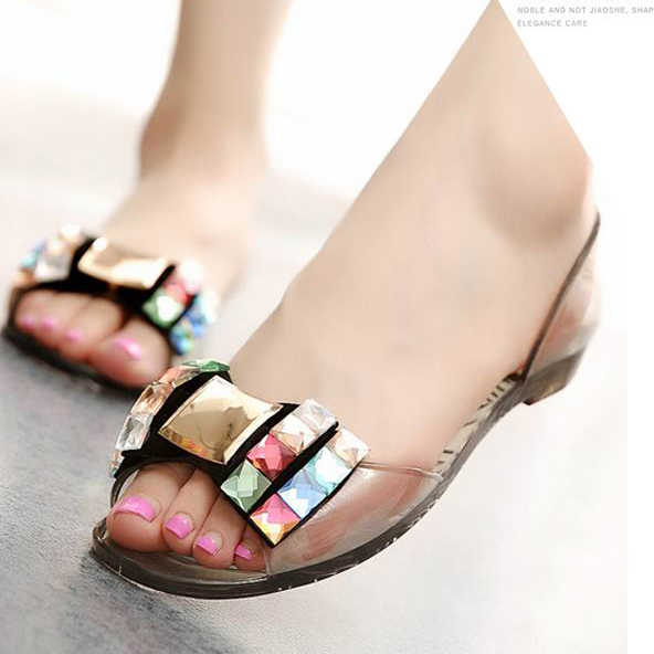 888f003ee52d ... women jelly sandals Ballet Flats bow colorful crystal rhinestone  glitter peep toe jelly shoes slip- ...