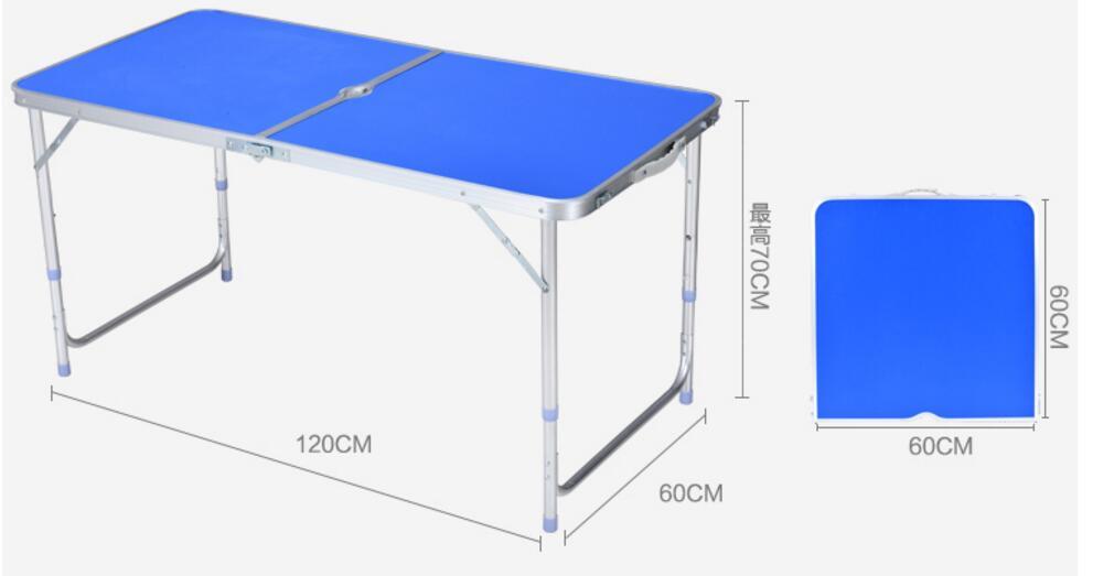 120*60*70 cm Tables d'extérieur en alliage d'aluminium table de Camping pliante Portable bureau de pique-nique en plein air avec trou de parapluie et chaises 6 pièces