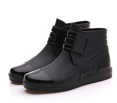 Avec Noir Hh Botas Pvc Caoutchouc Unisexe Étanche bleu Eau Pluie En 099 Cheville Bottes Hommes Plat Chaussures Boucle 6wIHawq