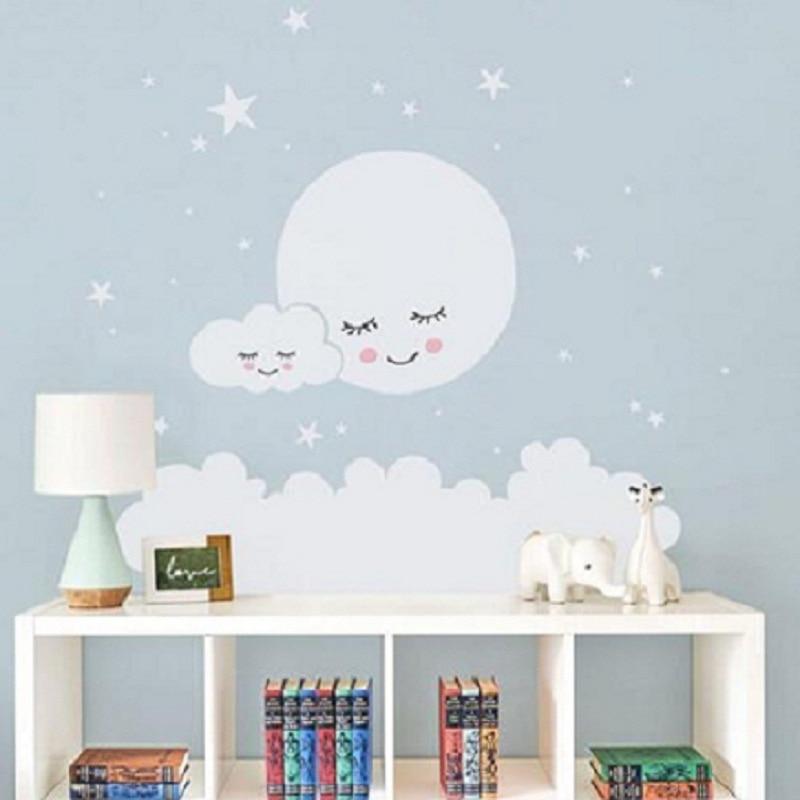 Us 13 98 Beautiful Moon Stars Wall Decal Cloud Nursery Vinyl Stickers For Kids Room Sticker Decorative Babies In