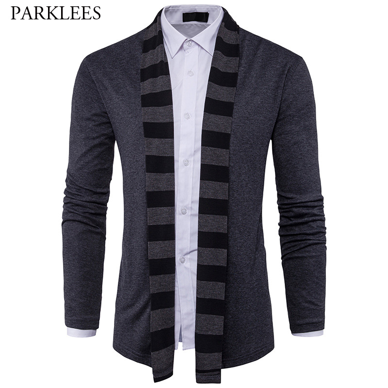 Striped Shawl Collar Sweater Men 2017 Brand Autumn Crochet Mens Sweaters Long Sleeve Slim Fit Mens Knitted Cardigan Masculino