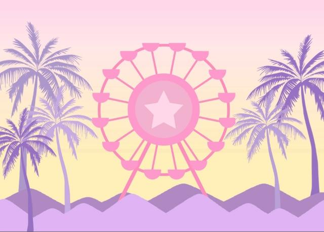 7x5FT Cartoon Palm Tree Sand Beach Ferris Wheel Light Pink Sky Crown Frame Custom Photo Background