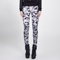 Gothic Women Skull Pattern Leggings Colorful Stretch Leggings Steampunk Casual Softer Skinny Pants