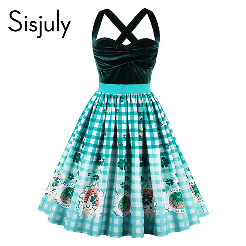 Sisjuly vintage dress strapless patchwork sexy knee length party green cotton blends women a line summer top quality dress
