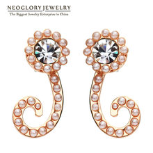 Neoglory Austrian Rhinestone Rose Gold Color Charm Drop Earrings for Women Simulated Pearl Fashion Jewelry 2018 New Brand QC4(China)