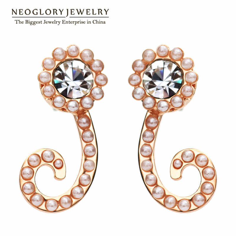 Neoglory Austrian Rhinestone Rose Gold Color Charm Drop Earrings for Women Simulated Pearl Fashion Jewelry 2018 New Brand QC4