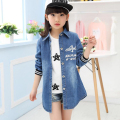 Spring Autumn Children Clothing Girls Outerwear Cowboy Jackets Kids Jean Coat Girl Denim Top 5-15Y