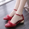 Summer Round Toe Low Heels And High Heel Wedding Bridal Evening Party Shoes Women's Pumps Sexy Ankle Strap Ladies Sandals