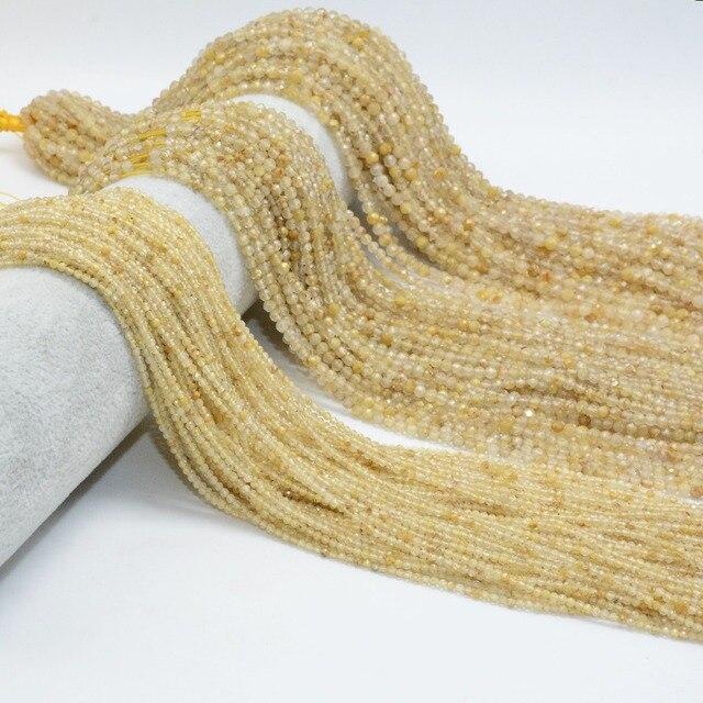 Perles rondes à facettes en Quartz rutilé or naturel 2mm/3mm/4mm