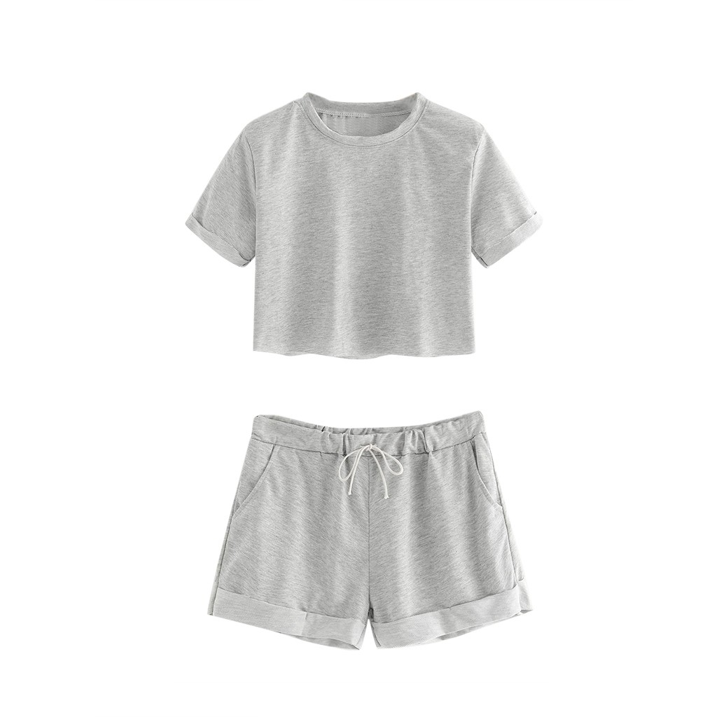 High Quality Casual Sexy Ladies Clothing Suit Summer Sport Women's Navel Fashion Cotton  Round Neck Short Sleeve Shorts Set