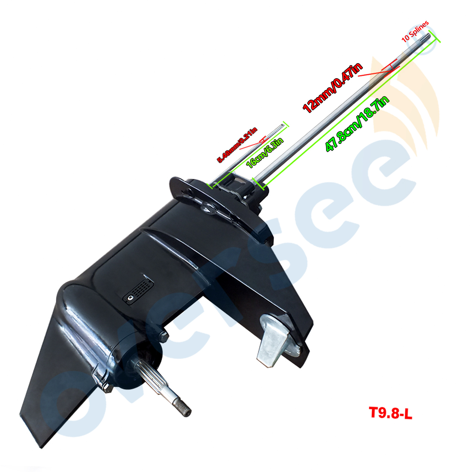 3B2S87302-0 Lower Unit Assy With Long Driver Shaft For Tohatsu 9.8HP 8HP 2 Stroke Outboard Motor Gear Box Assy Parsun HDX 9.8M