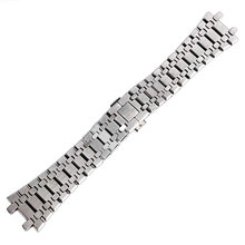 28mm Wrist Band Strap Solid Link Stainless Steel Bracelet Silver For AP Watch Push Button Replacement Men + 2 Spring Bars