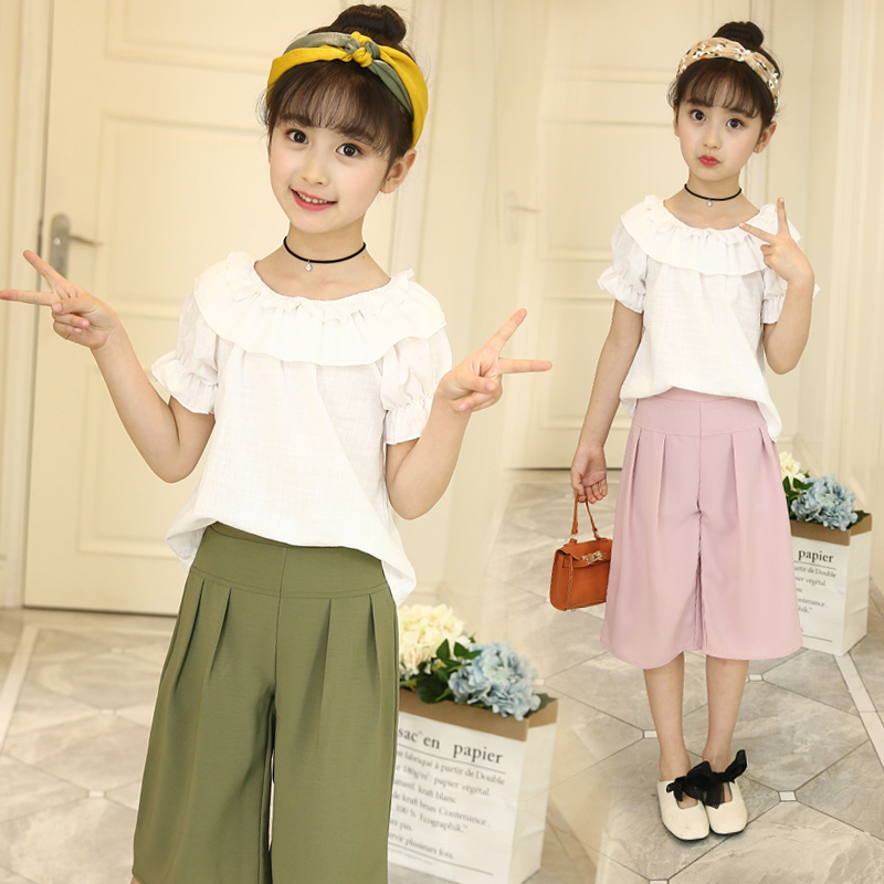 Kids Clothes Sets for Girls 2018 2pcs Set Summer Suits Girls Clothing Sets White Blouses Shirts + Pants Age 4 6 8 10 12 14 Year 2018 new big girls clothing sets summer t shirts tops shorts suits 2 pieces kids clothes baby clothing sets 6 8 10 12 14 year