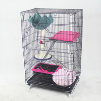 76*51*65cm Double Layer Cat Cage Portable Foldable Playpen Pet Dog Crate Room Puppy Exercise Kennel Cat Cage Pet Dogs Cats House