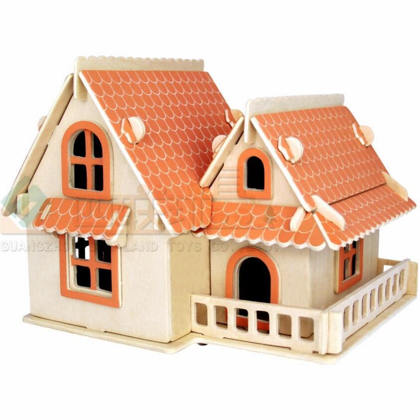 DIY Деревянный 3D Сборка игрушки европейском стиле вилла головоломки дом здания IQ Развивающие игрушки шале дерево Паззлы дети игрушка